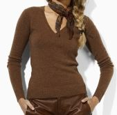 Ralph Lauren Wool-Angora V-Neck Sweater